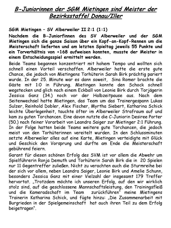 B-Juniorinnen der SGM Mietingen sind Meister der Bezirksstaffel Donau/Iller