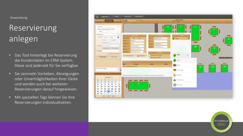 Anwendung Reservierung anlegen. Das Tool hinterlegt bei Reservierung die Kundendaten im CRM-System. Diese sind jederzeit für Sie verfügbar.