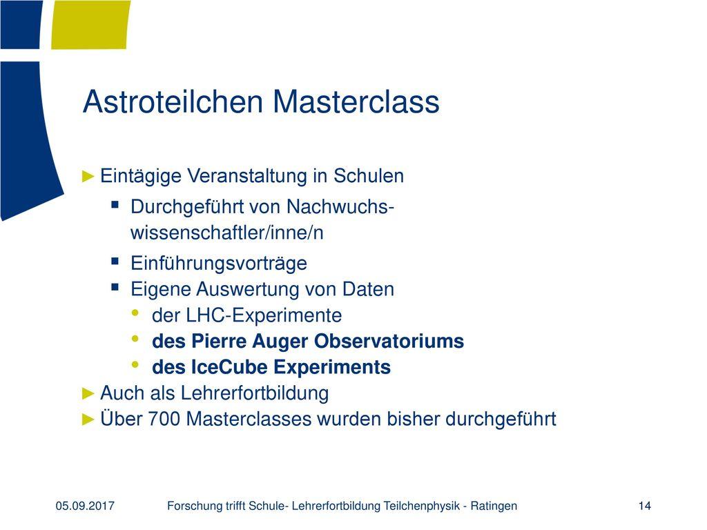 Astroteilchen Masterclass