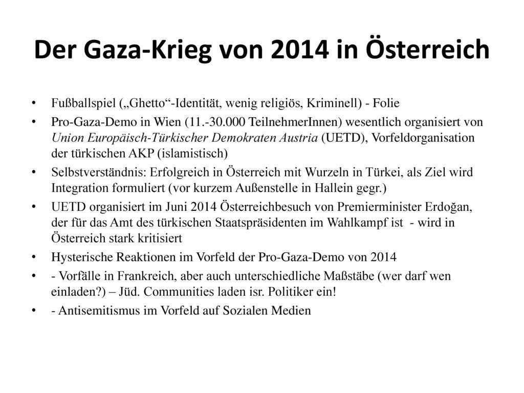 Der Gaza-Krieg von 2014 in Österreich