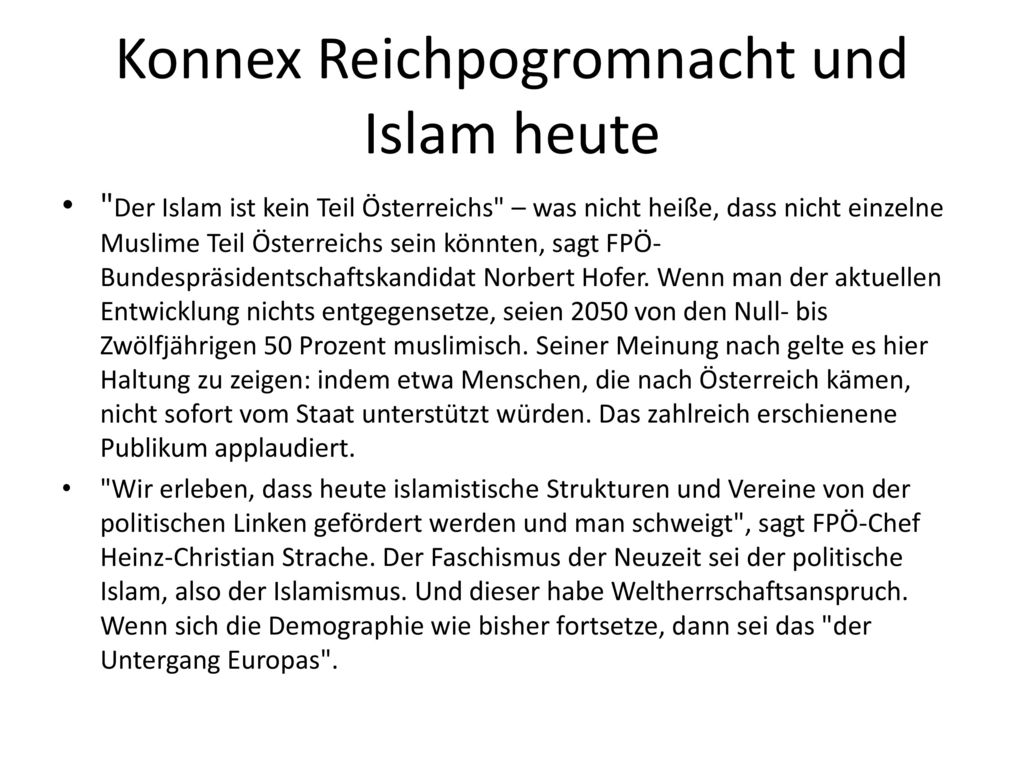 Konnex Reichpogromnacht und Islam heute