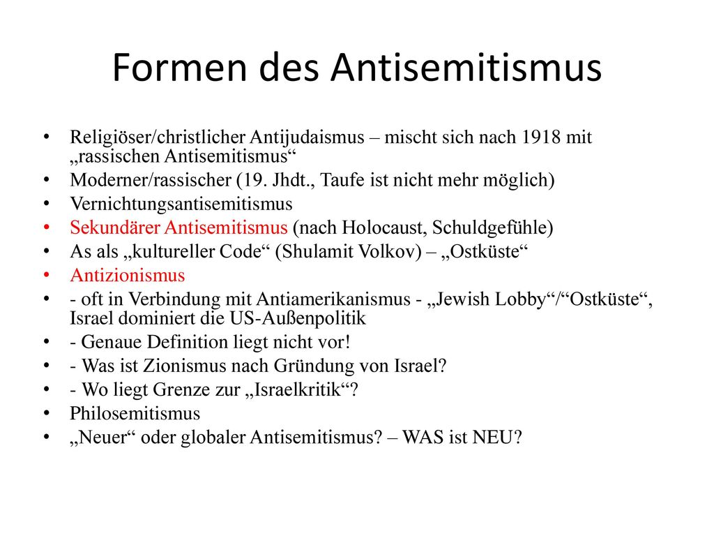 Formen des Antisemitismus