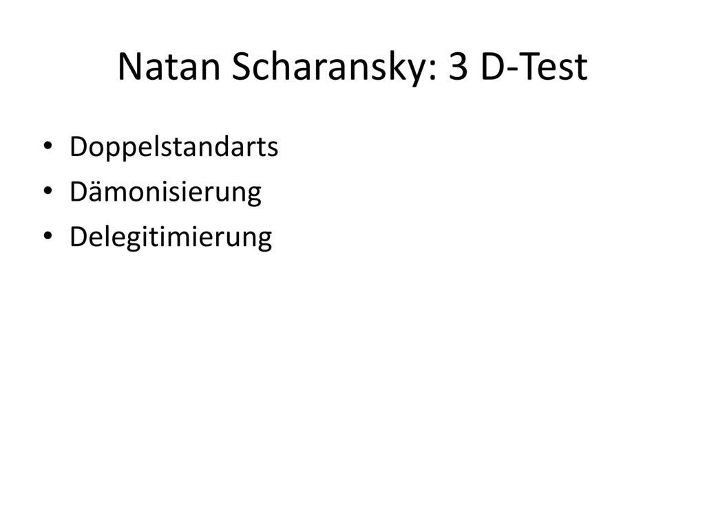 Natan Scharansky: 3 D-Test