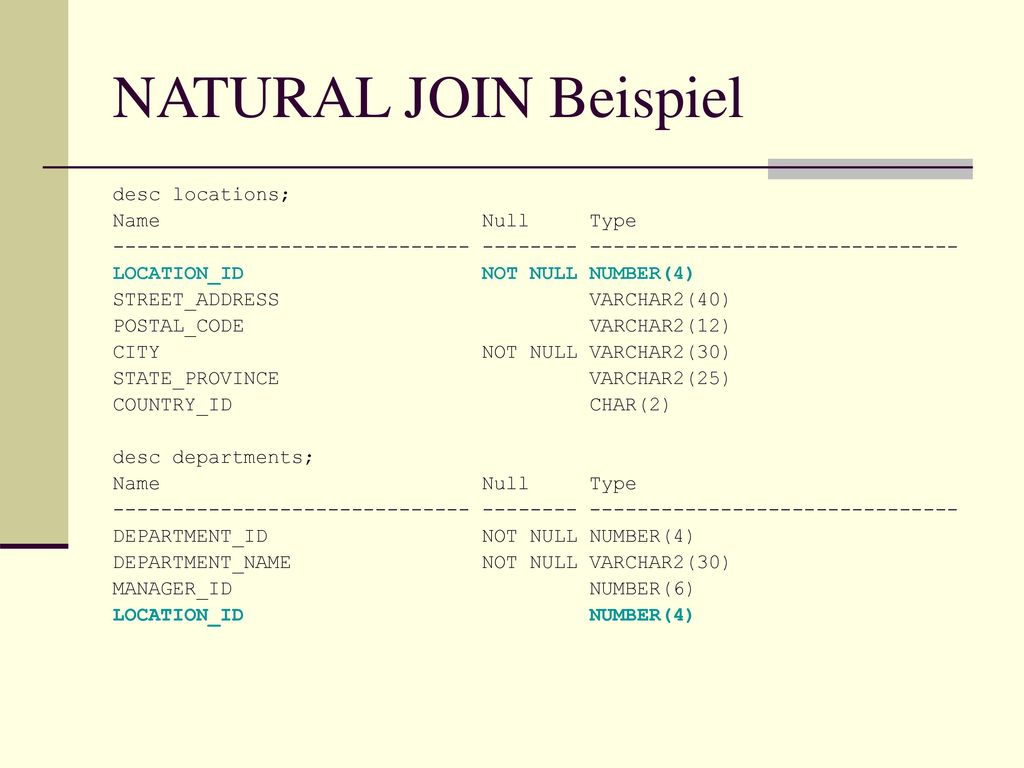 NATURAL JOIN Beispiel desc locations; Name Null Type