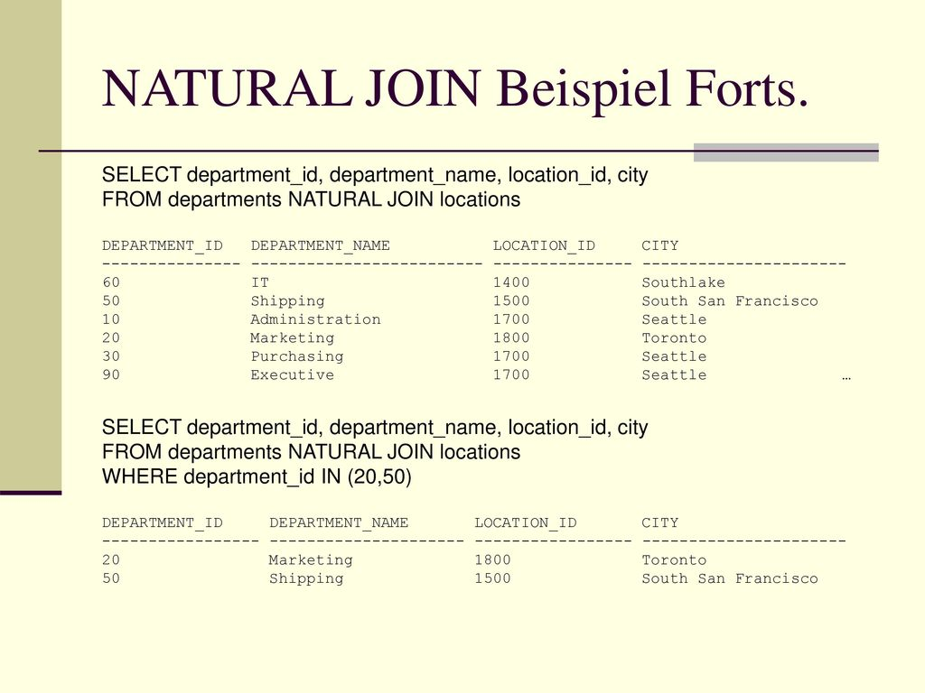 NATURAL JOIN Beispiel Forts.