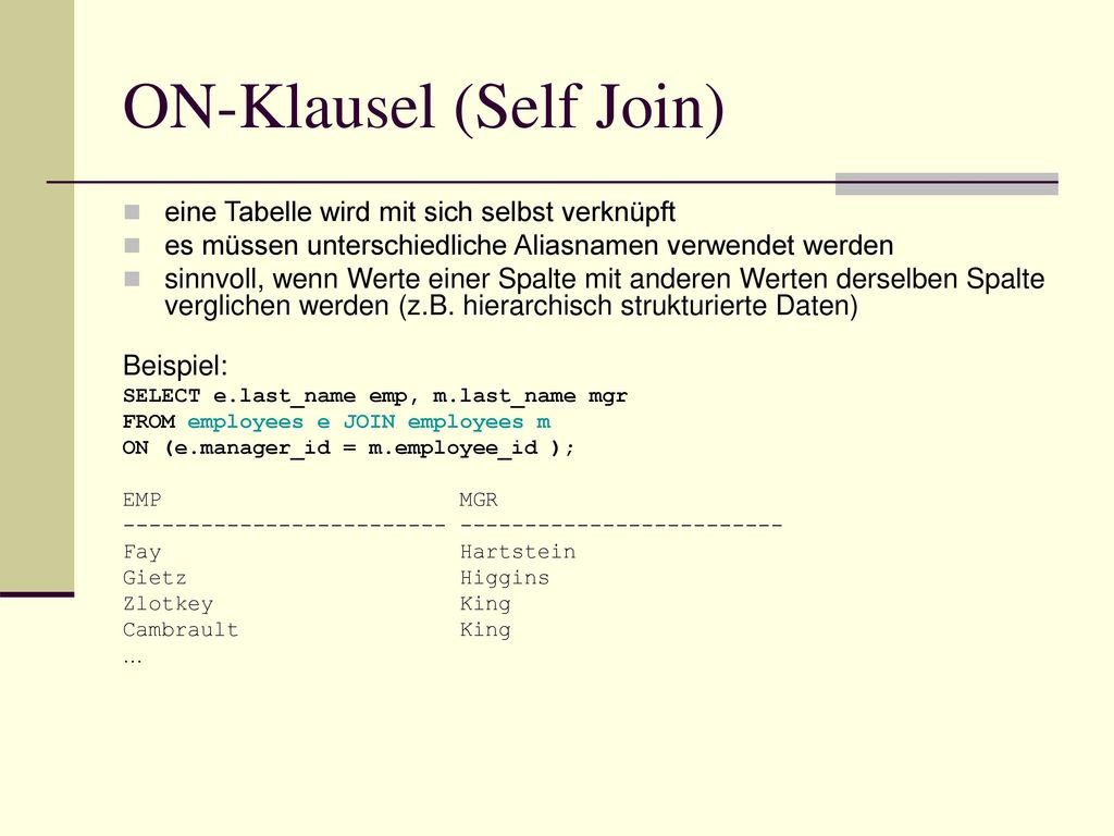 ON-Klausel (Self Join)