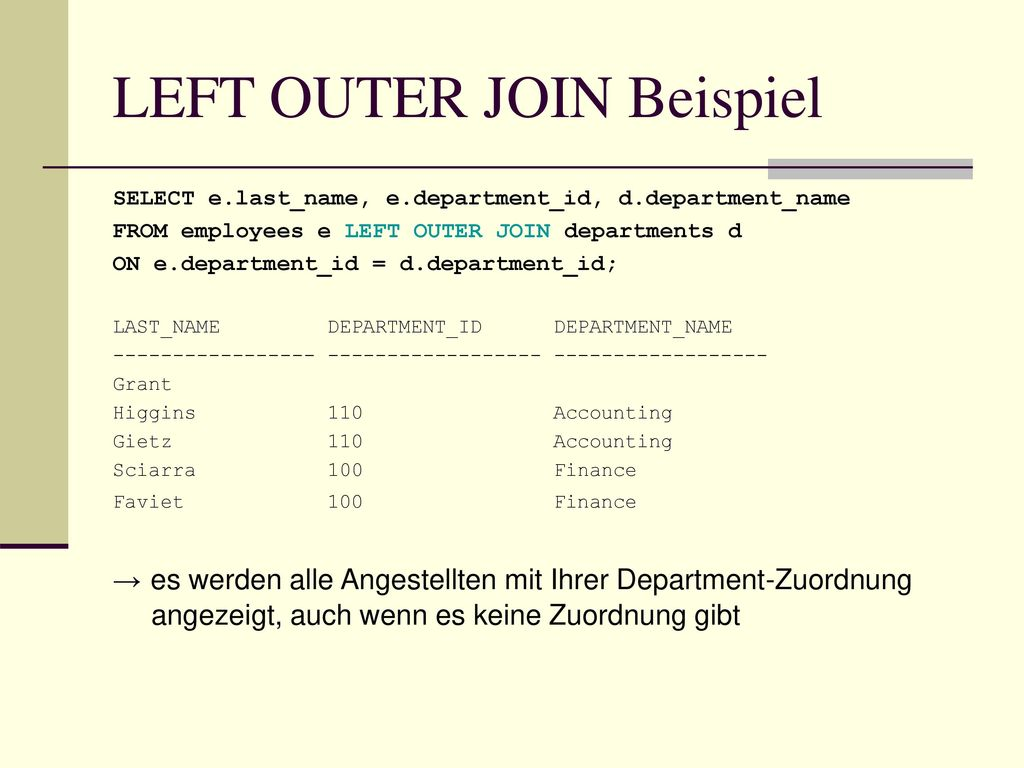 LEFT OUTER JOIN Beispiel