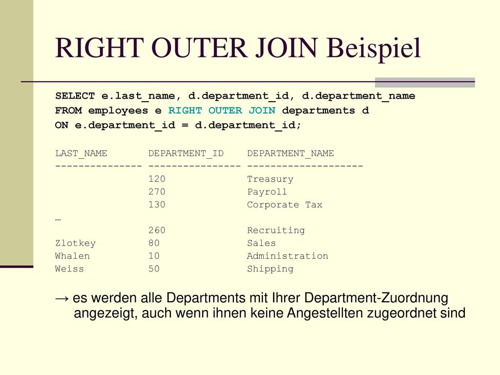 RIGHT OUTER JOIN Beispiel