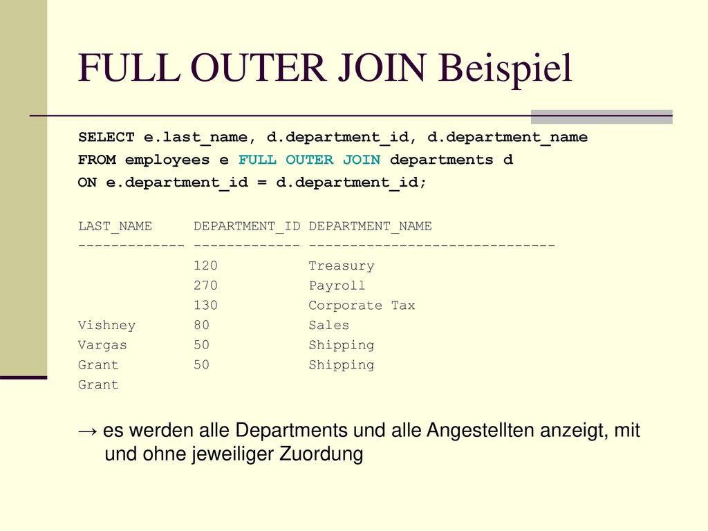 FULL OUTER JOIN Beispiel