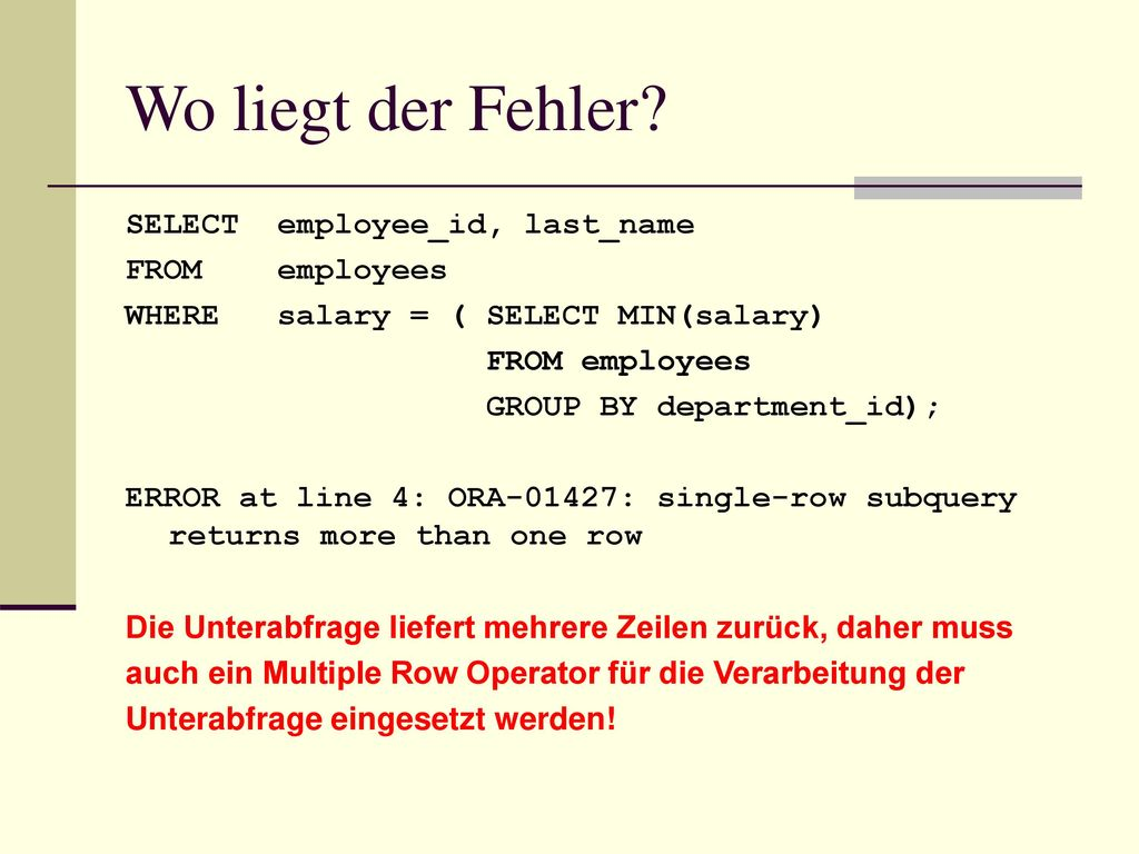 Wo liegt der Fehler SELECT employee_id, last_name FROM employees