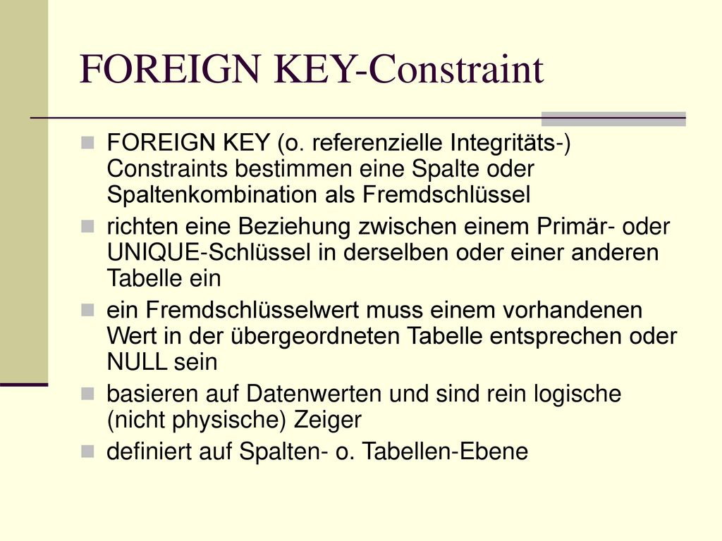 FOREIGN KEY-Constraint