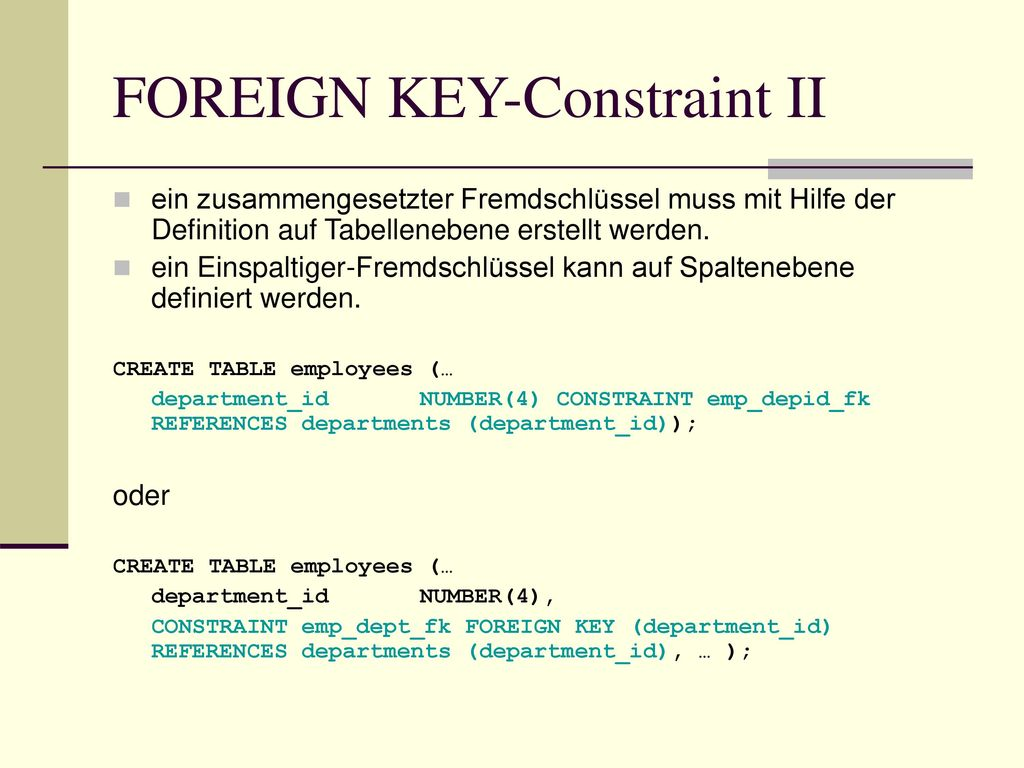 FOREIGN KEY-Constraint II