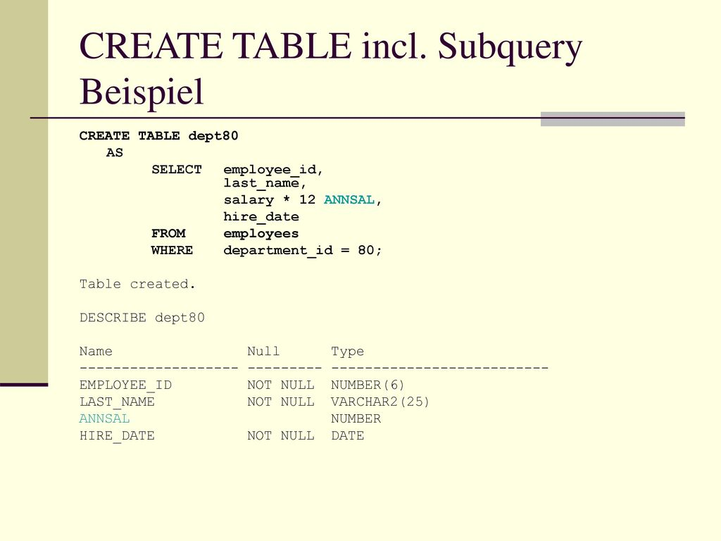 CREATE TABLE incl. Subquery Beispiel
