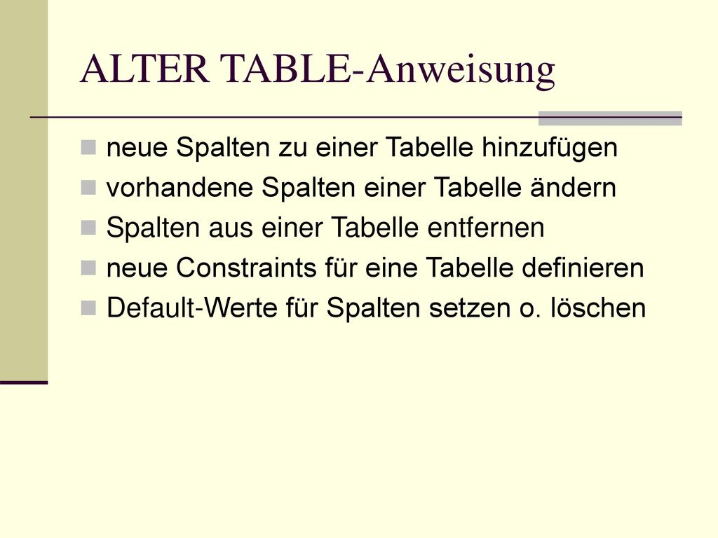 ALTER TABLE-Anweisung