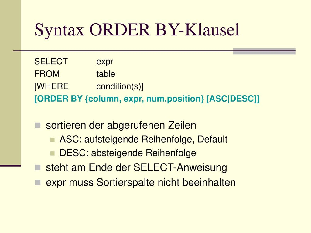 Syntax ORDER BY-Klausel