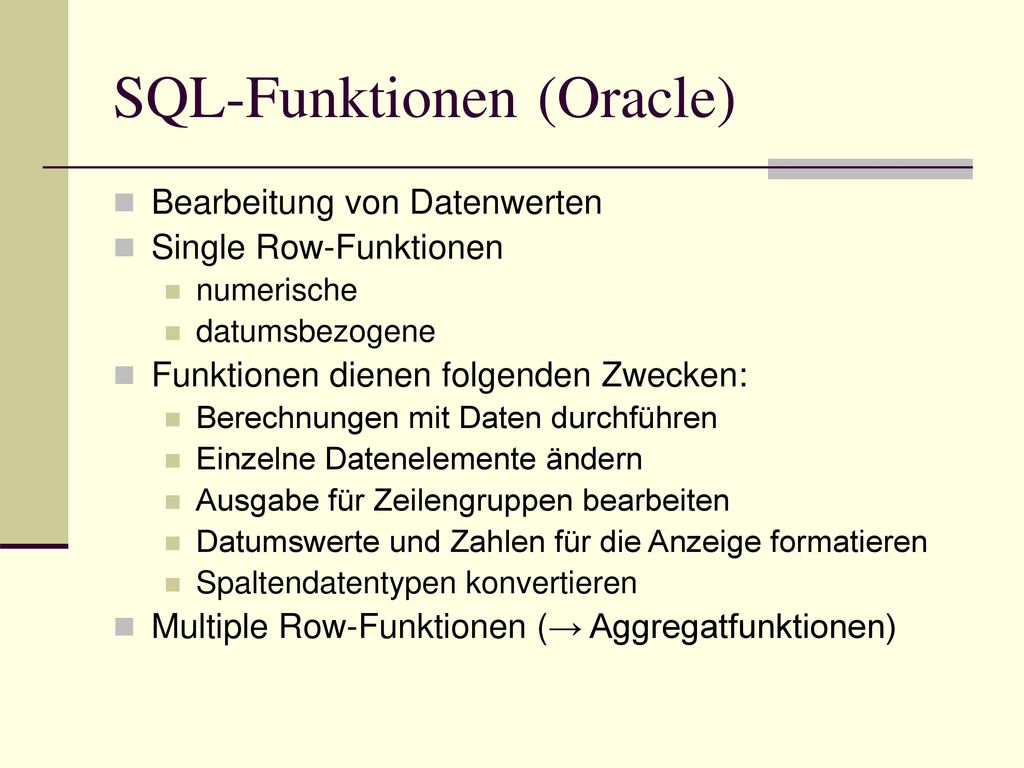 SQL-Funktionen (Oracle)