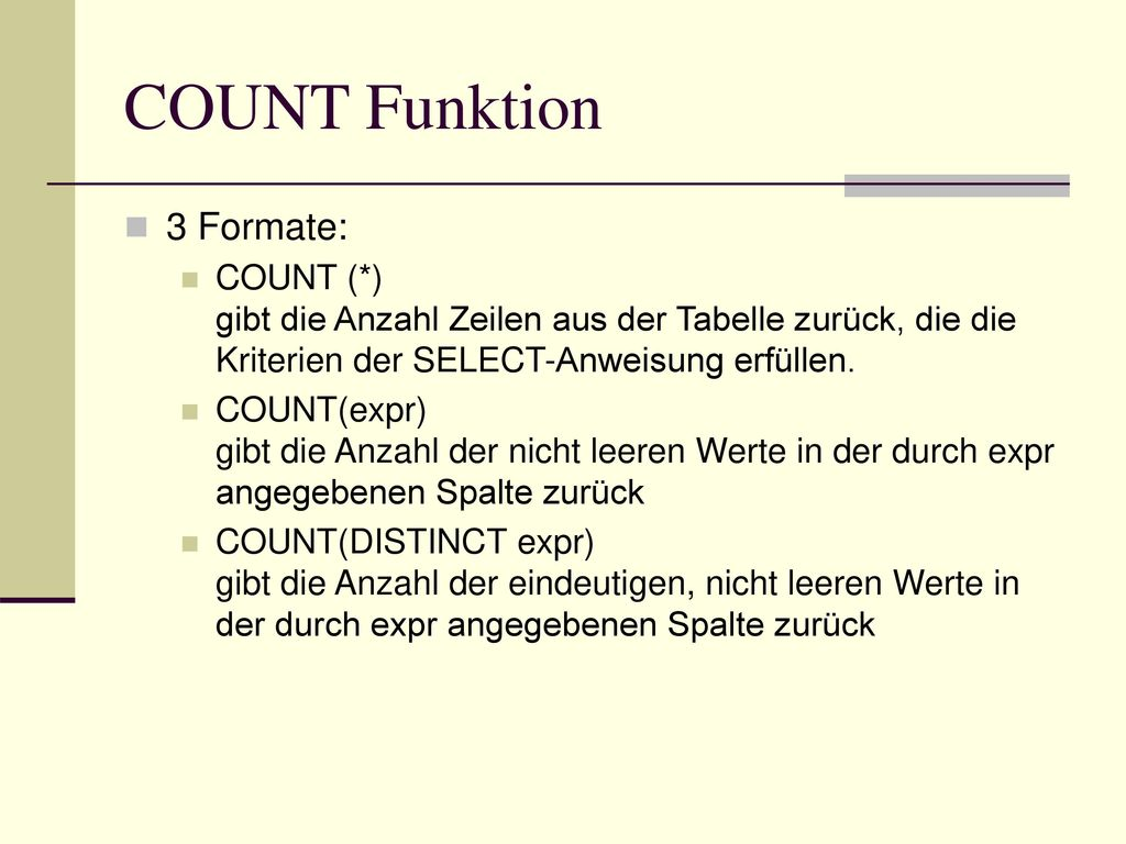 COUNT Funktion 3 Formate: