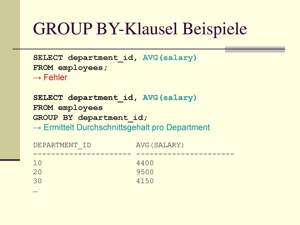 GROUP BY-Klausel Beispiele