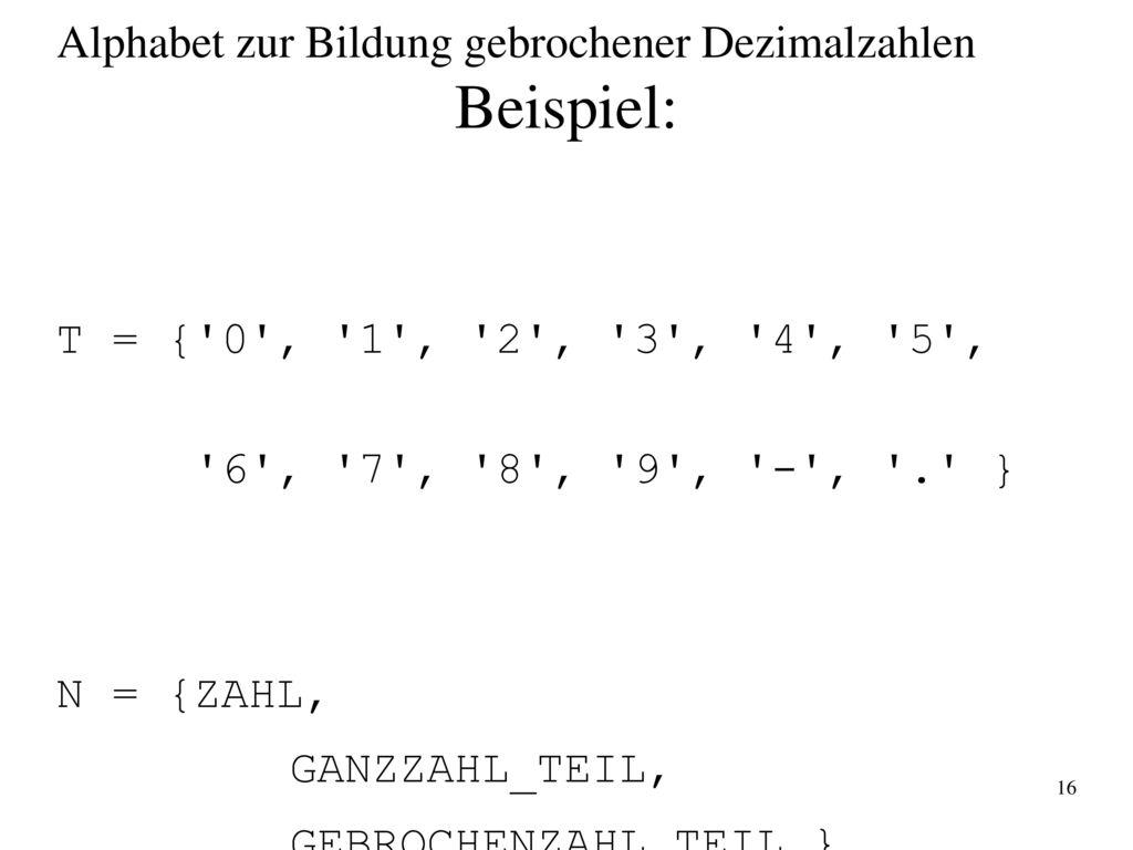 Beispiel: Alphabet zur Bildung gebrochener Dezimalzahlen