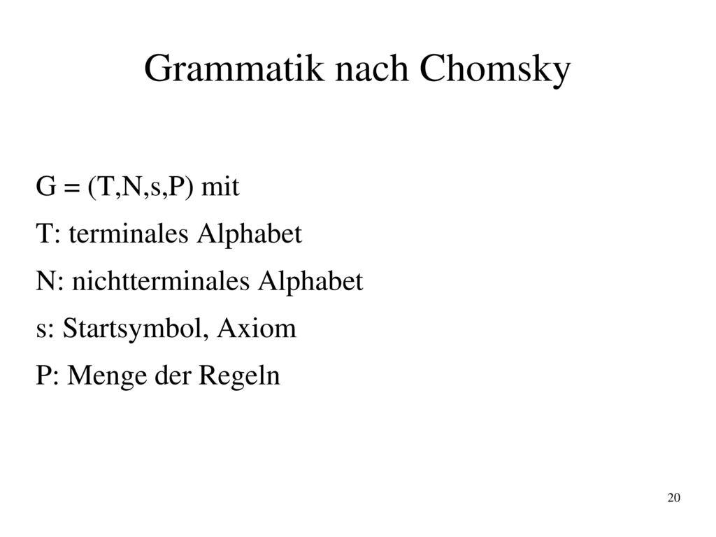 Grammatik nach Chomsky