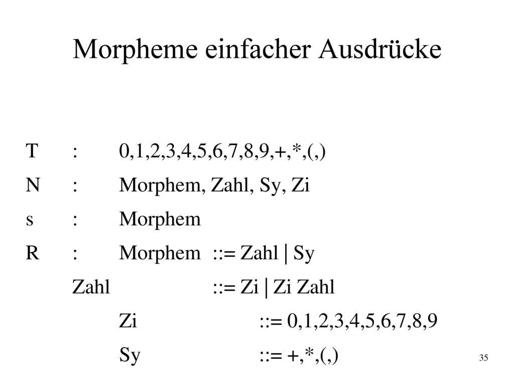 Morpheme einfacher Ausdrücke
