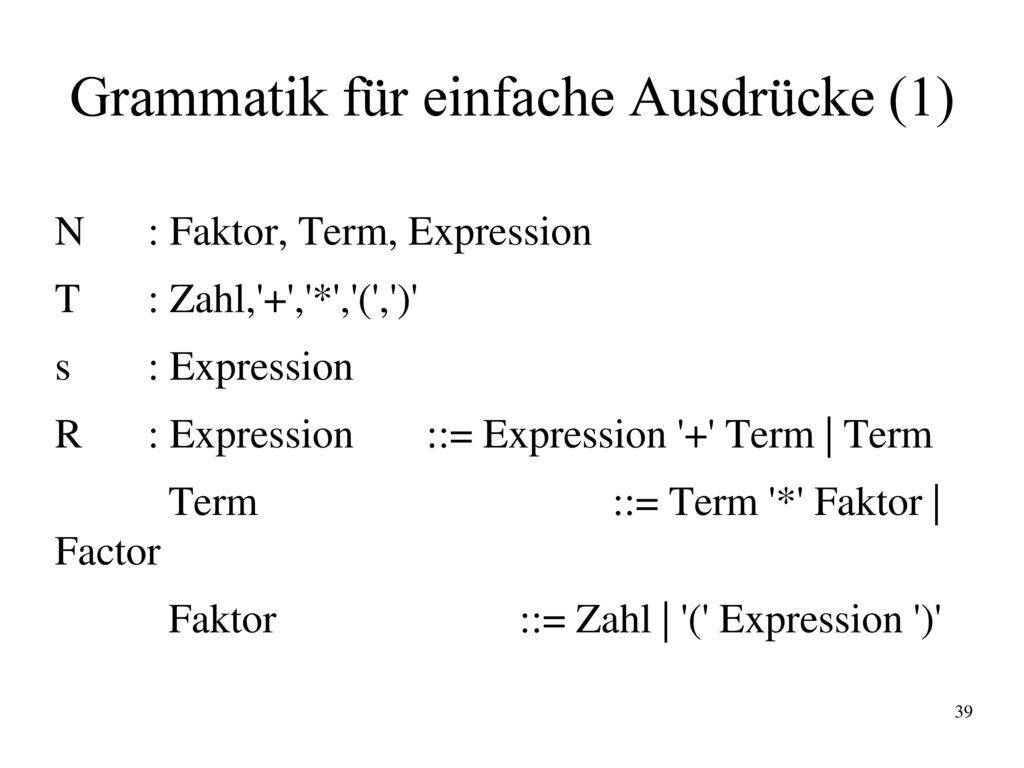 Grammatik für einfache Ausdrücke (1)