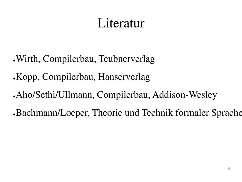 Literatur Wirth, Compilerbau, Teubnerverlag