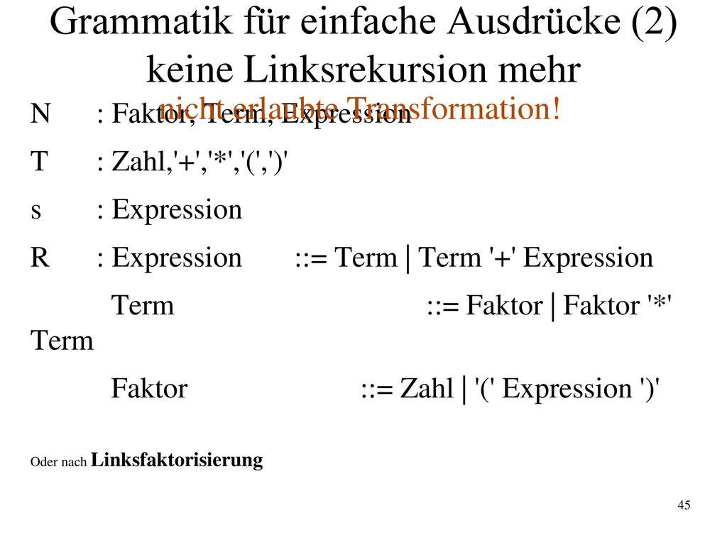 Grammatik für einfache Ausdrücke (2) keine Linksrekursion mehr