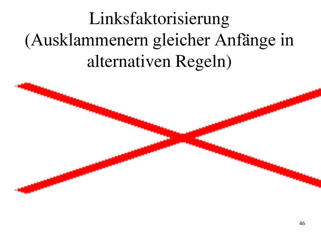 Linksfaktorisierung (Ausklammenern gleicher Anfänge in alternativen Regeln)