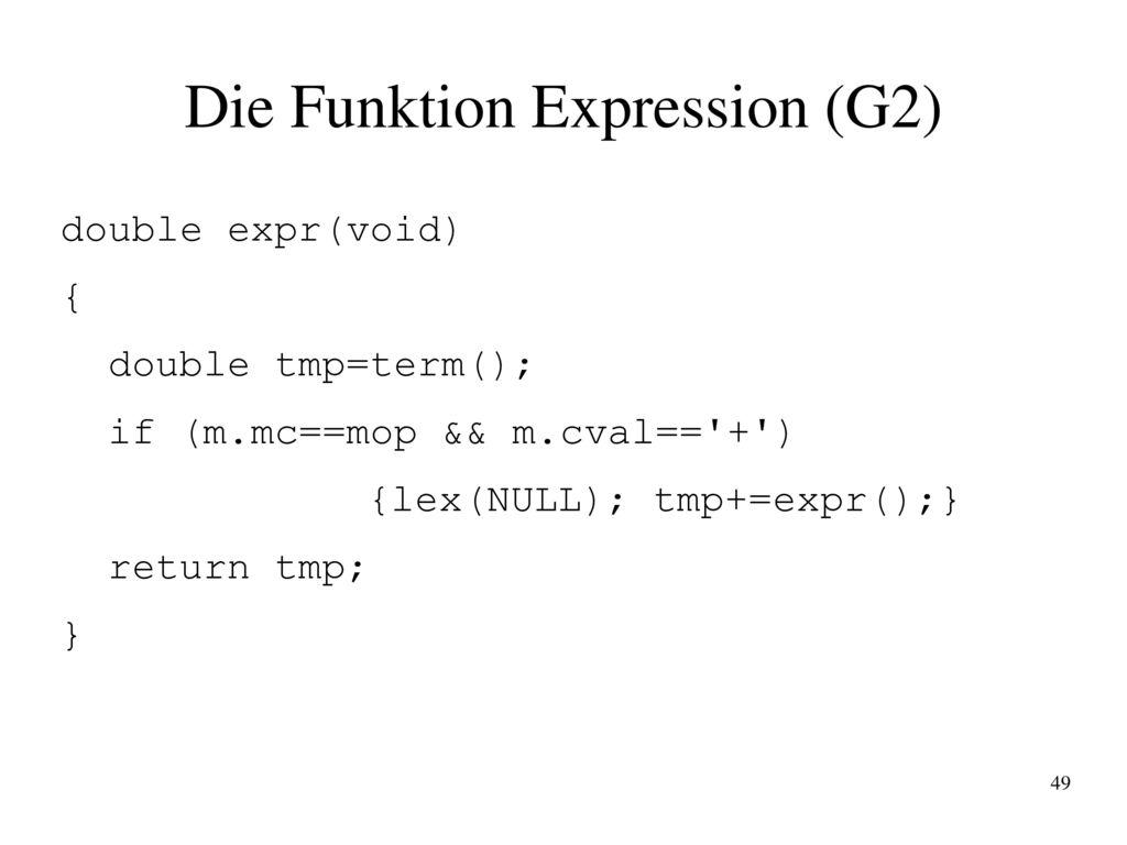 Die Funktion Expression (G2)