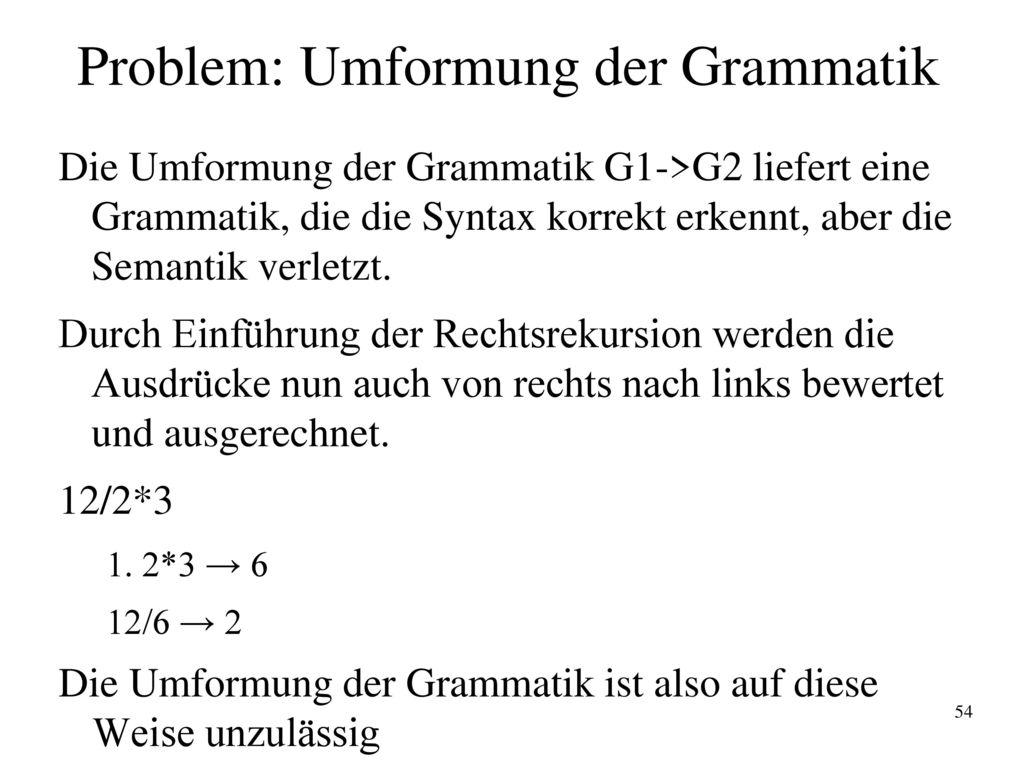 Problem: Umformung der Grammatik