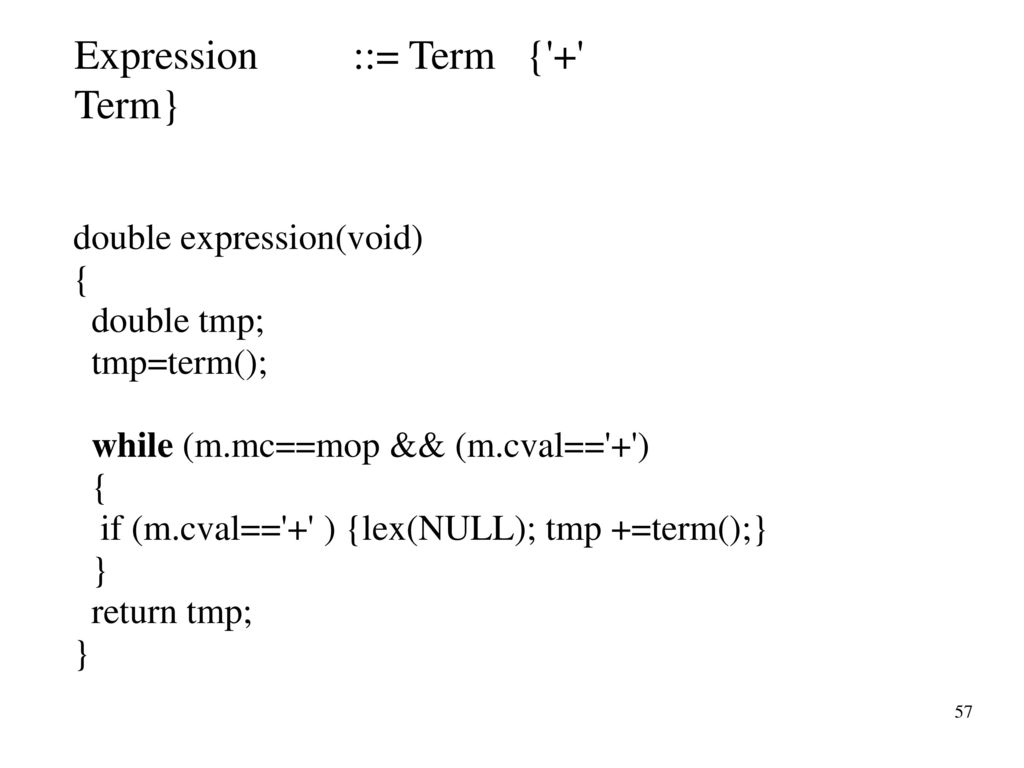 Expression ::= Term { + Term}