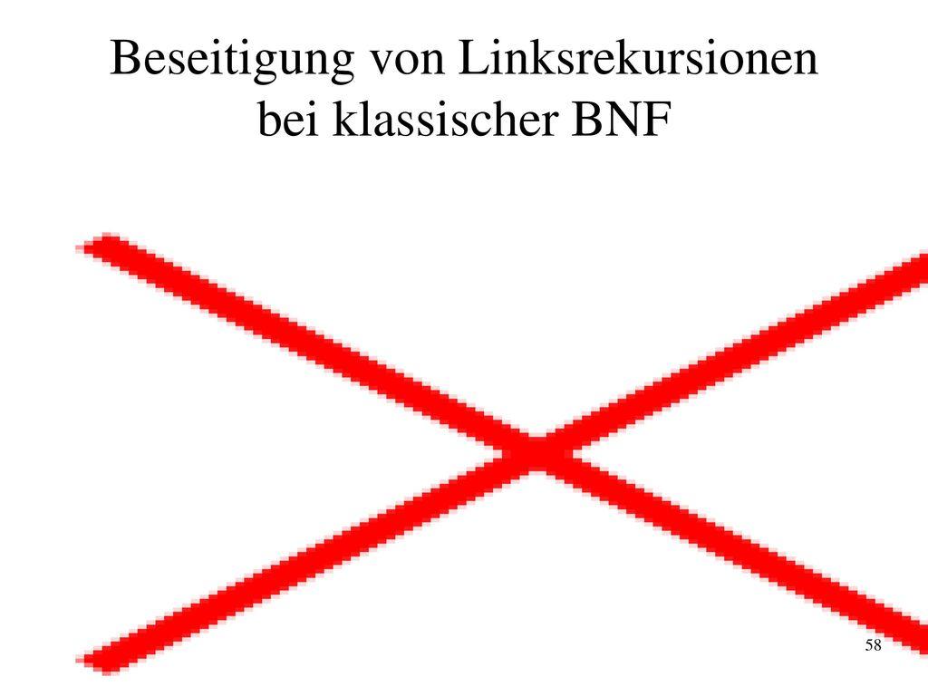Beseitigung von Linksrekursionen bei klassischer BNF