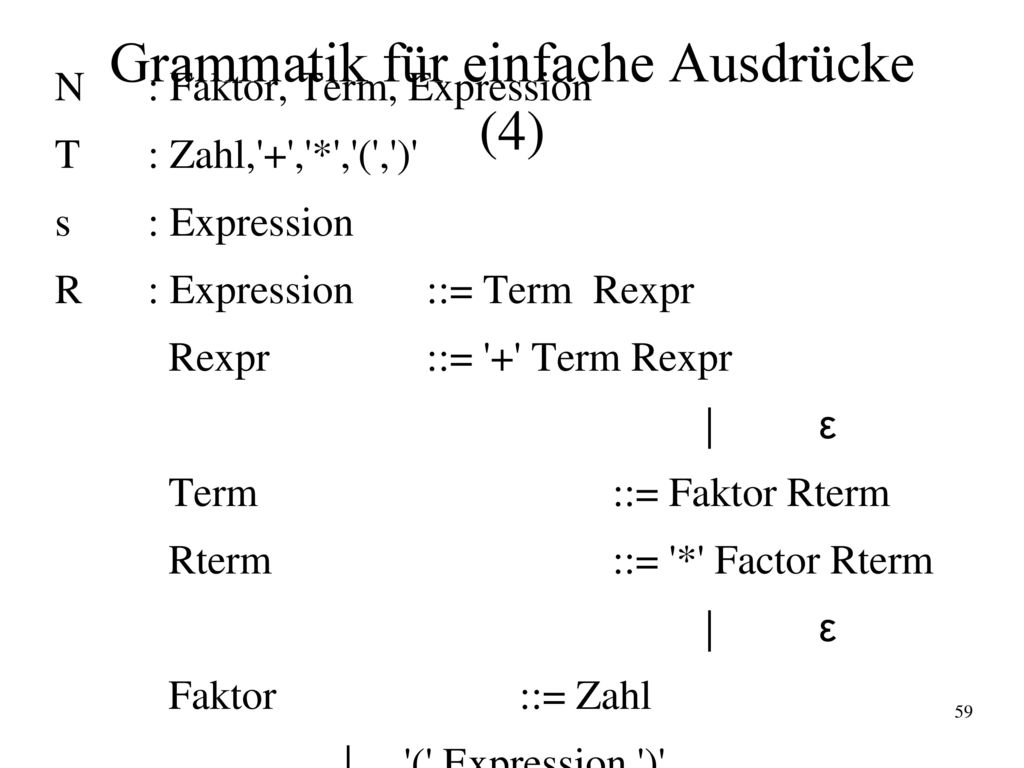 Grammatik für einfache Ausdrücke (4)