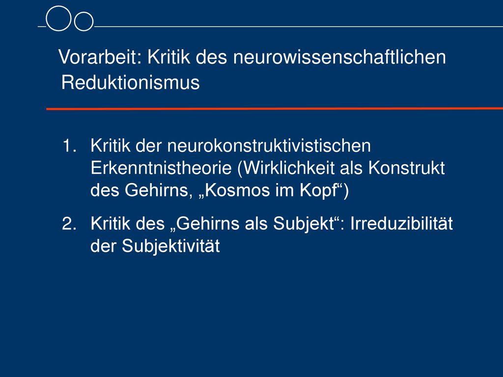 Vorarbeit: Kritik des neurowissenschaftlichen Reduktionismus