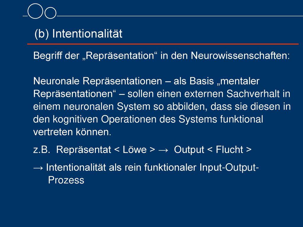 """(b) Intentionalität Begriff der """"Repräsentation in den Neurowissenschaften:"""