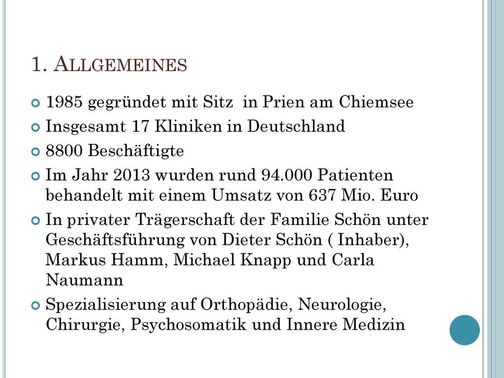 1. Allgemeines 1985 gegründet mit Sitz in Prien am Chiemsee
