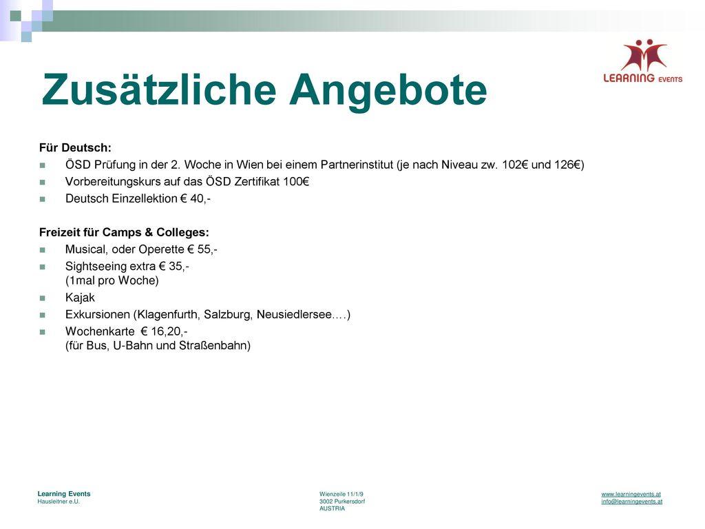 Zusätzliche Angebote Für Deutsch: