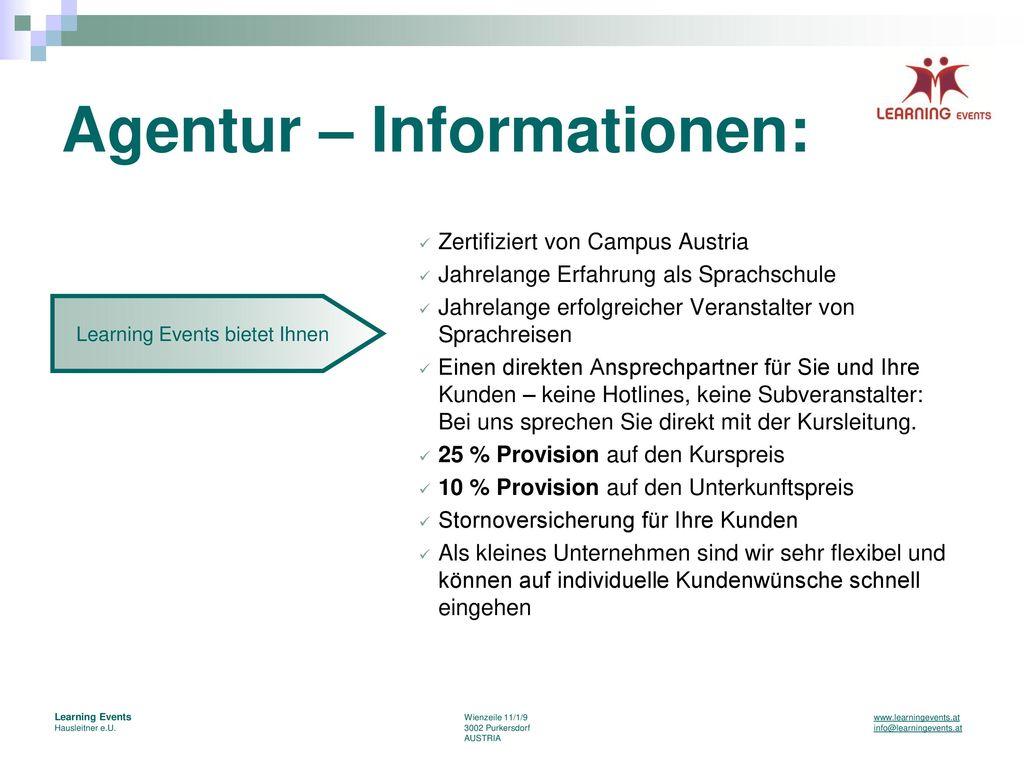 Agentur – Informationen: