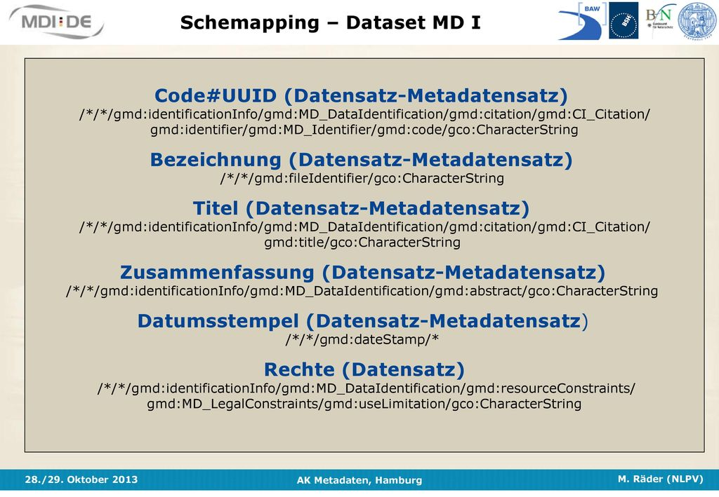 Schemapping – Dataset MD I