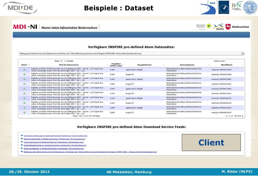 Beispiele : Dataset Client
