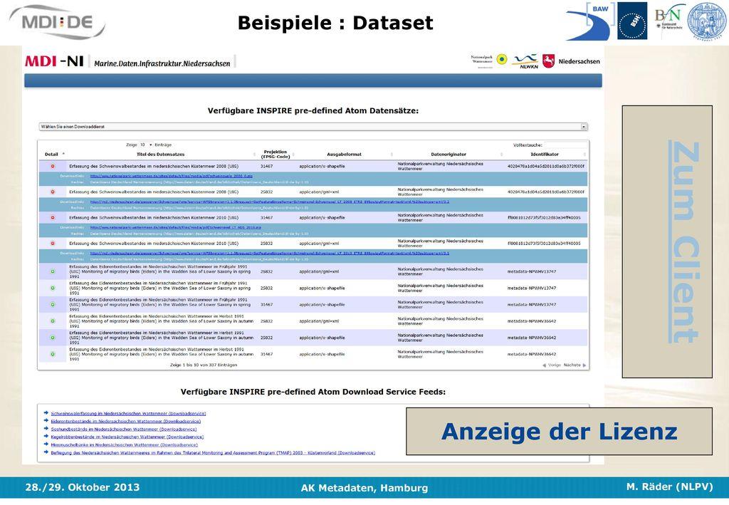Beispiele : Dataset Zum Client Anzeige der Lizenz