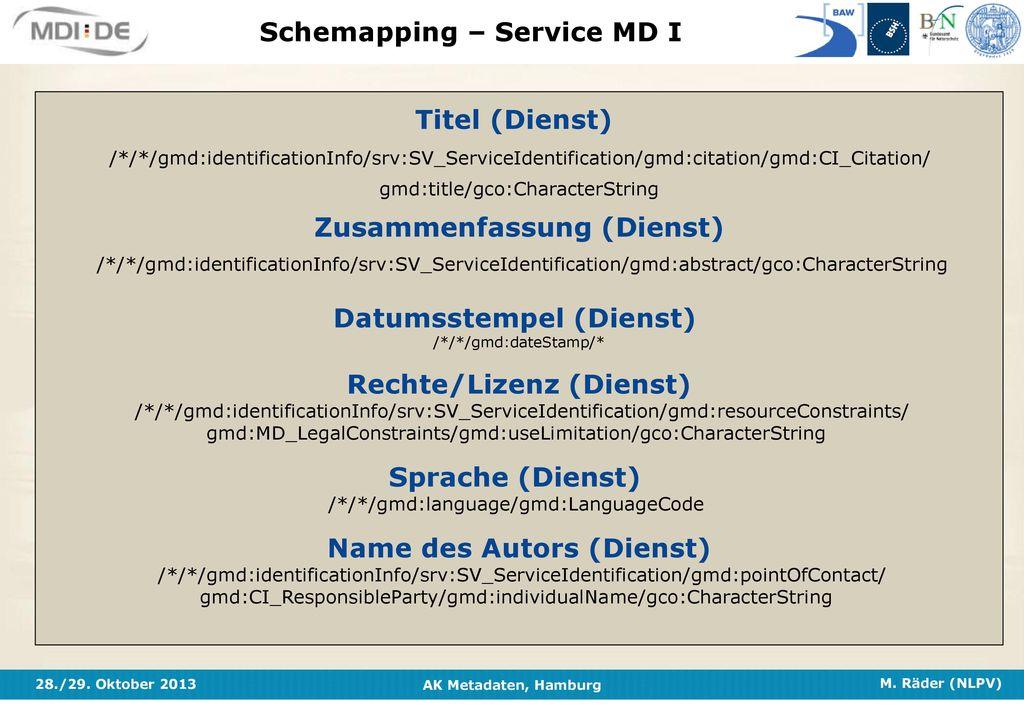Schemapping – Service MD I