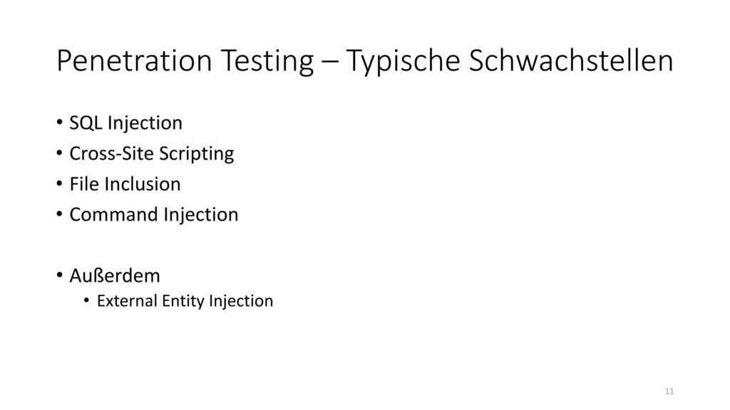 Penetration Testing – Typische Schwachstellen
