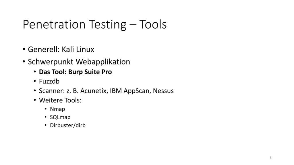 Penetration Testing – Tools