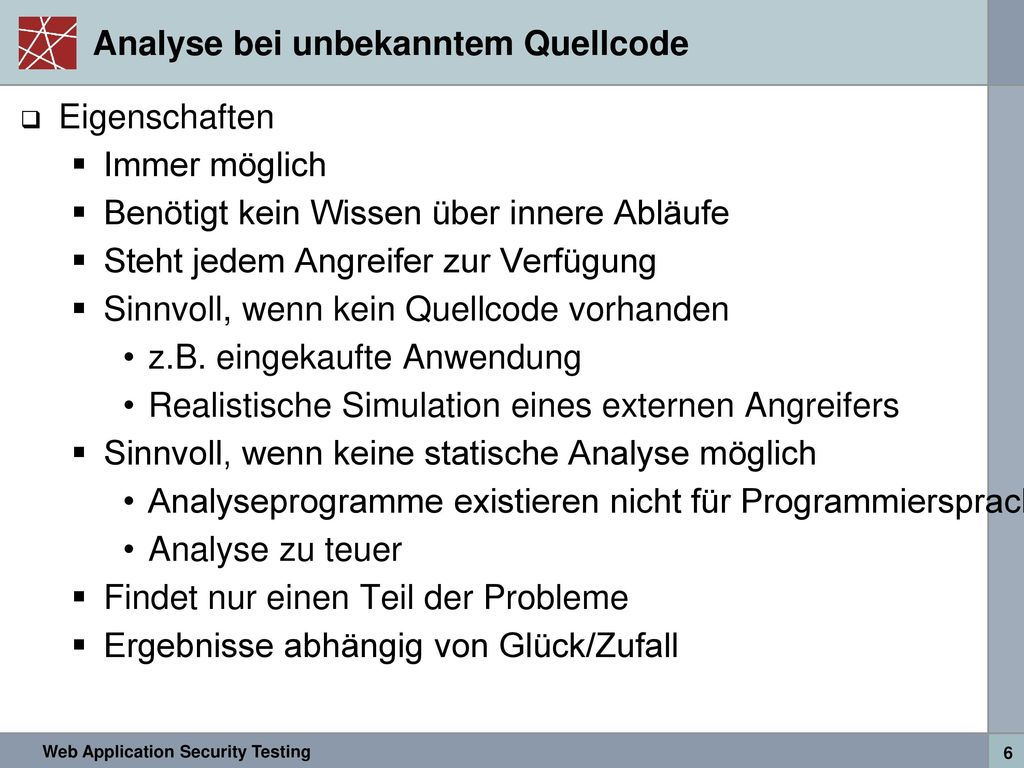 Analyse bei unbekanntem Quellcode