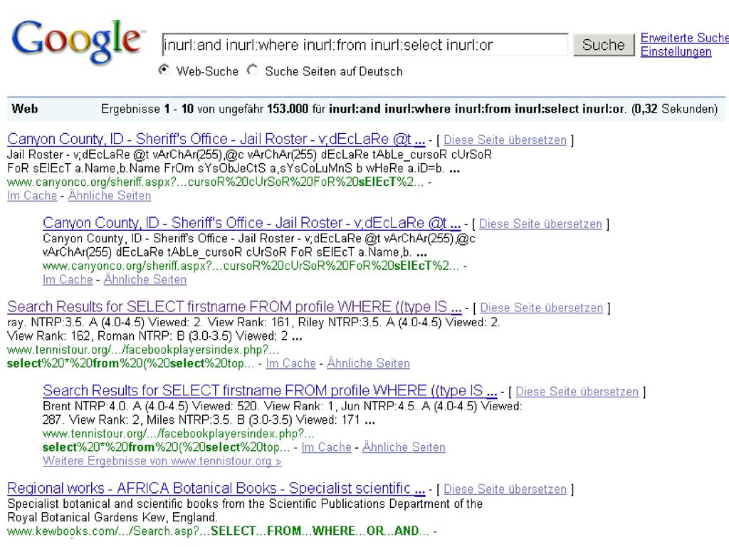 Google SQL-in-URL