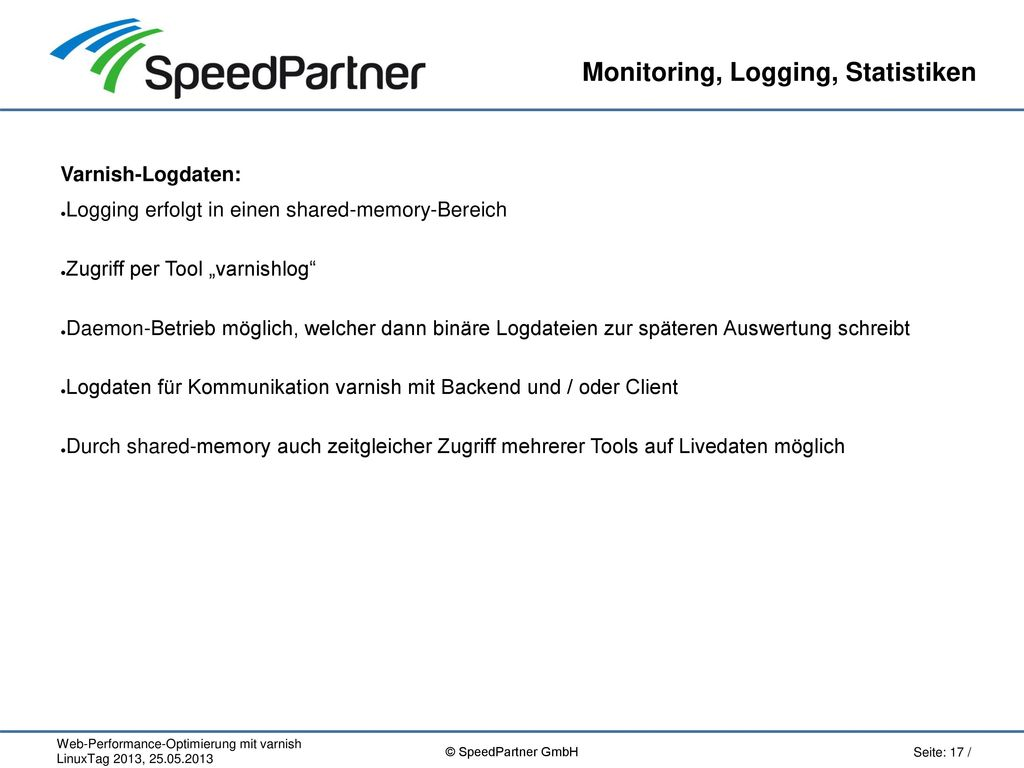 Monitoring, Logging, Statistiken