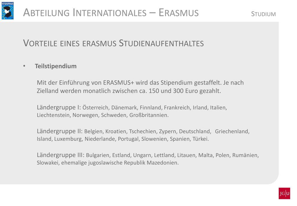 Abteilung Internationales – Erasmus Studium