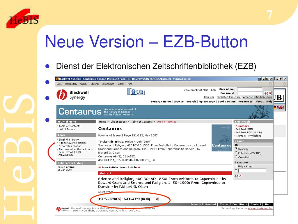 Neue Version – EZB-Button